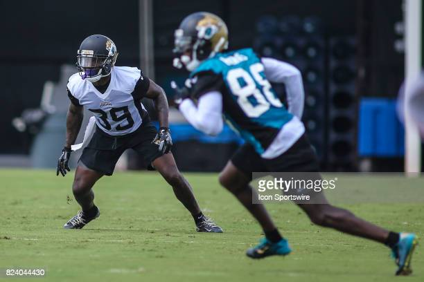Jacksonville Jaguars safety Tashaun Gipson runs through a drill during the Jaguars training camp on July 28 2017 at Florida Blue Health and Wellness...