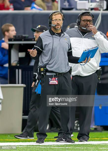Jacksonville Jaguars special teams coordinator gives instructions during the NFL game between the Jacksonville Jaguars and Houston Texans on December...