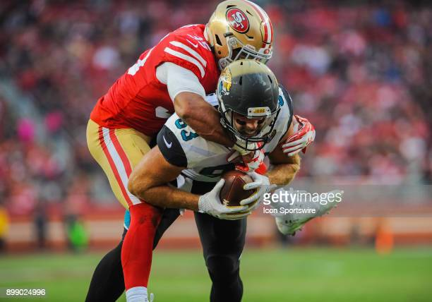 Jacksonville Jaguars tight end Ben Koyack tries to scores for the two point conversion during the game between the San Francisco 49ers and the...