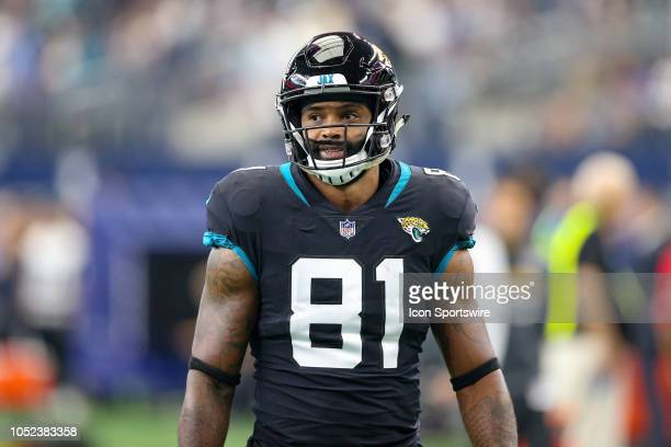Jacksonville Jaguars tight end Niles Paul warms up prior to the game between the Jacksonville Jaguars and Dallas Cowboys on October 14 2018 at ATT...