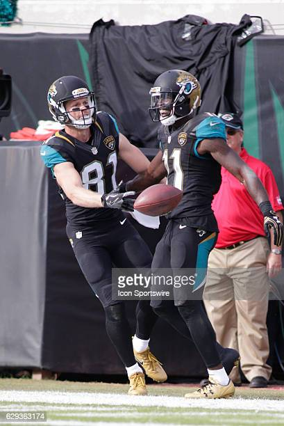 Jacksonville Jaguars Wide Receiver Bryan Walters and Jacksonville Jaguars Wide Receiver Marqise Lee celebrate a touchdown during the NFL game between...