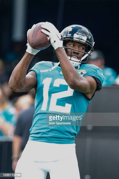 Jacksonville Jaguars wide receiver Dede Westbrook catches the ball during warmups before the game between the New England Patriots and the...