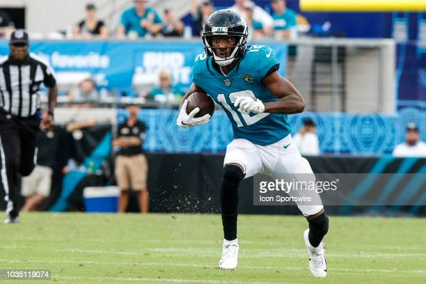 Jacksonville Jaguars wide receiver Dede Westbrook runs with the ball for a touchdown during the game between the New England Patriots and the...