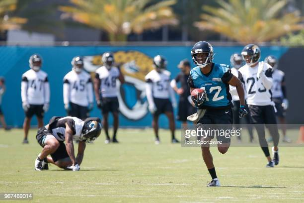 Jacksonville Jaguars wide receiver Dede Westbrook runs with the ball during the Jaguars OTA on June 4 2018 at Dream Finders Homes Practice Complex in...