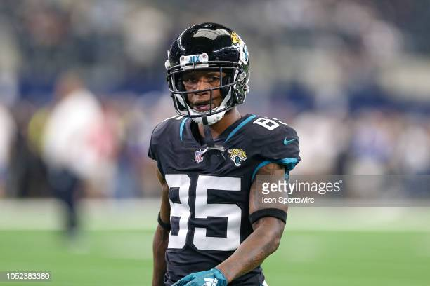 Jacksonville Jaguars wide receiver Jaydon Mickens warms up prior to the game between the Jacksonville Jaguars and Dallas Cowboys on October 14, 2018...