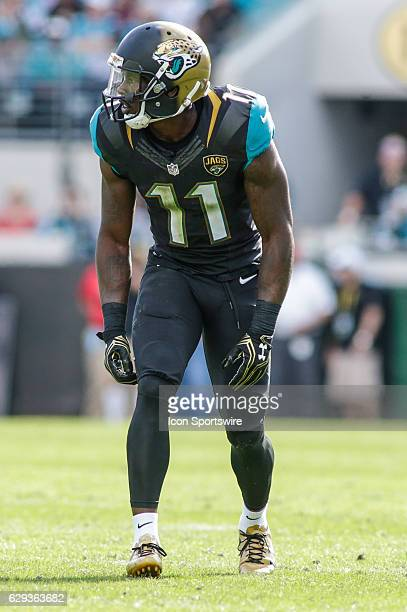 Jacksonville Jaguars Wide Receiver Marqise Lee lines up for a play during the NFL game between the Minnesota Vikings and the Jacksonville Jaguars on...