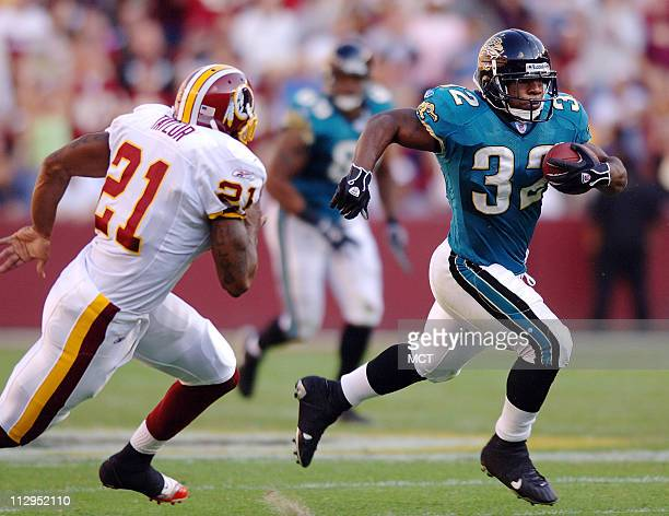 Jacksonville running back Maurice JonesDrew runs past Washington safety Sean Taylor to score a 51yard touchdown in the second quarter of the Jaguars...