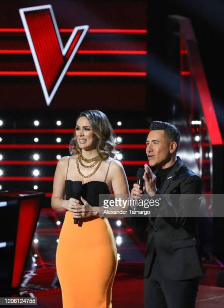 Jacky Bracamontes and Jorge Bernal are seen on stage during Telemundo's La Voz Batallas Round 1 at Cisneros Studios on March 8 2020 in Miami Florida