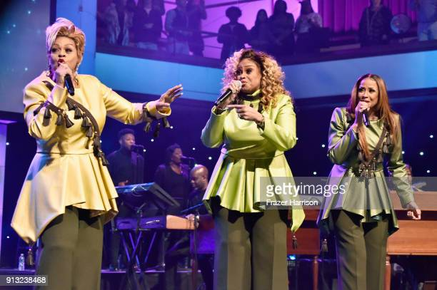 Jacky ClarkChisholm Dorinda ClarkCole and Karen Clark Sheard of The Clark Sisters perform onstage during BET Presents 19th Annual Super Bowl Gospel...