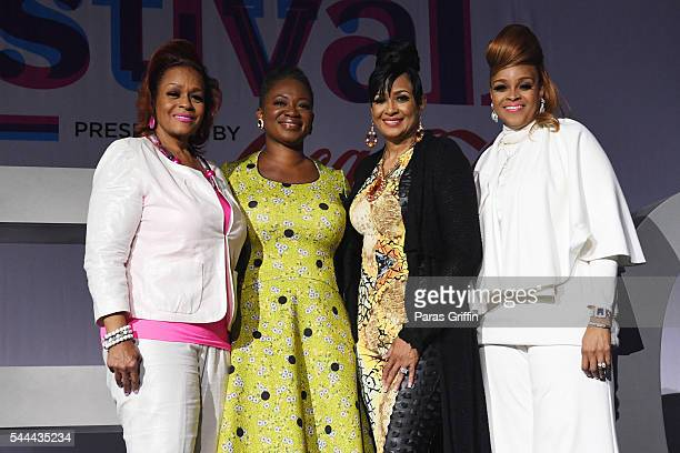 Jacky Cullum Chisholm Editor in Chief of ESSENCE Vanessa K De Luca Dorinda ClarkCole and Karen Clark Sheard backstage at the 2016 ESSENCE Festival...