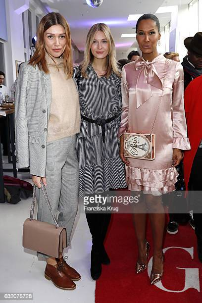 Jacky Hyde Mandy Bork and Marie Amiere attend the 'Gala' fashion brunch during the MercedesBenz Fashion Week Berlin A/W 2017 at Ellington Hotel on...