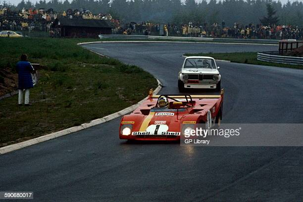 Jacky Ickx and Clay Regazzoni Ferrari 312 PB Dieter Hegelsand and Heinz Gilges BMW 2002 at the Sudkehre turn 1000km race Nuburgring 28 May 1972