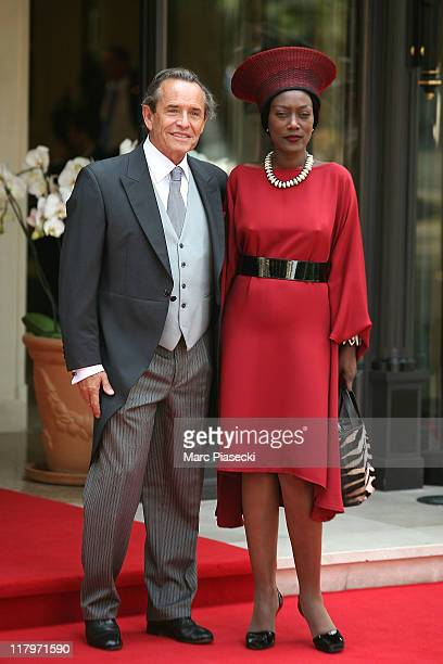 Jacky Ickx and his wife Khadja Nin are sighted leaving the 'Hermitage' hotel to attend the Royal Wedding of Prince Albert II of Monaco to Charlene...