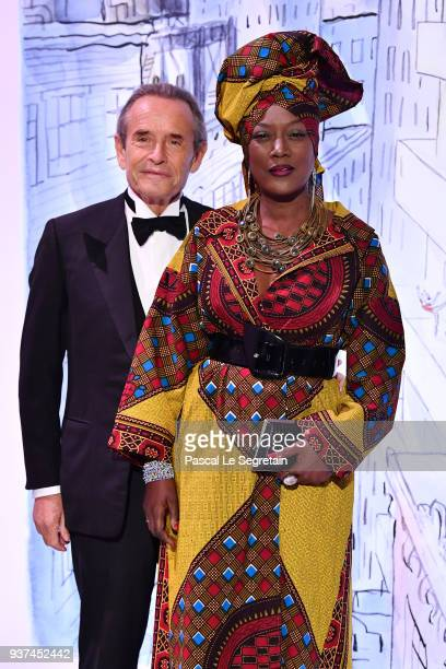 Jacky Ickx and his wife Khadja Nin arrive at the Rose Ball 2018 To Benefit The Princess Grace Foundation at Sporting MonteCarlo on March 24 2018 in...