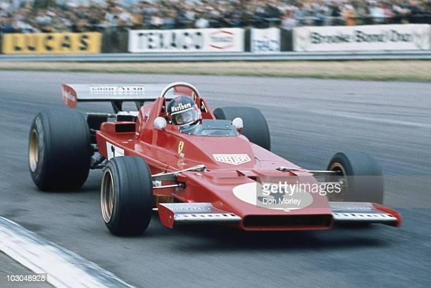 Jacky Ickx drives the Scuderia Ferrari SpA SEFAC Ferrari 312B3 at the British Grand Prix on 14 July 1973 at the Silverstone Circuit in Towcester...