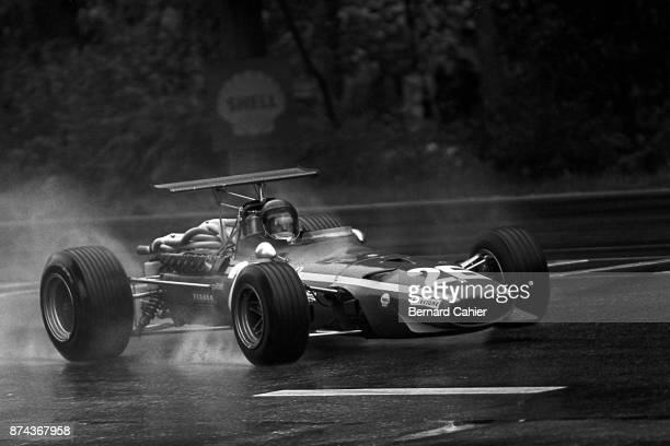 Jacky Ickx Ferrari 312 Grand Prix of France RouenLesEssarts 07 July 1968 Jacky Ickx in the rain on the way to his first ever Forrmula One win in the...