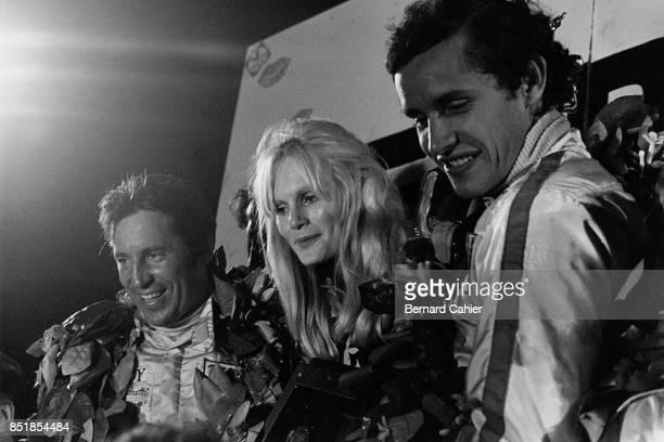 Jacky Ickx, Mario Andretti, Ferrari 312B2, 12 Hours of Sebring, Sebring, 25 March 1972. Mario Andretti with co-driver Jacky Ickx on the winners...