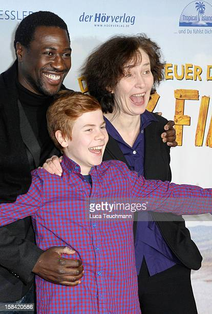 Jacky Ido Leon Seidel and Hermine Huntgeburth attend 'Tom Sawyer Huckleberry Finn' Germany Premiere at Kino in der KulturBrauerei on December 16 2012...