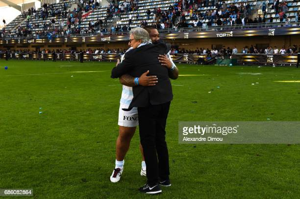 Jacky Lorenzetti Chairman and Ben Tameifuna of Racing celebrates the Victory during the Top 14 match between Montpellier Rugby and Racing 92 on May...