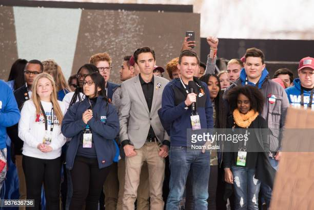 Jaclyn Corin David Hogg Cameron Kasky and Noami Wadler speak during March For Our Lives on March 24 2018 in Washington DC