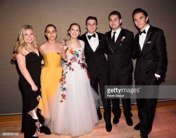 Jaclyn Corin Emma Gonzalez Millie Bobby Brown Cameron Kasky Alex Wind and David Hogg attends the 2018 Time 100 Gala at Jazz at Lincoln Center on...