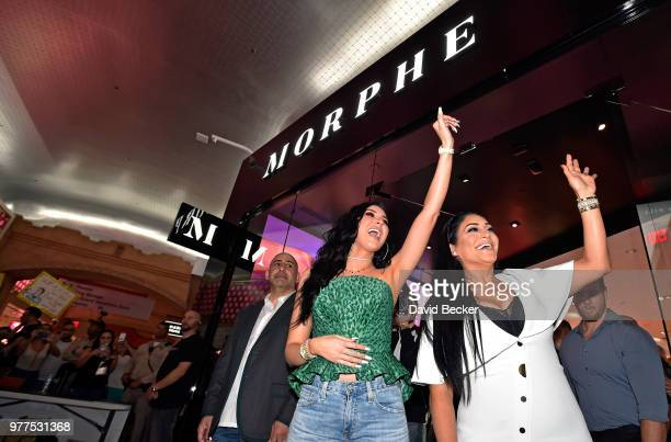 Jaclyn Hill and Linda Tawil attend the Morphe store opening at the Miracle Mile Shops at Planet Hollywood Resort Casino on June 16 2018 in Las Vegas...