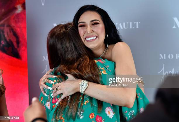 Jaclyn Hill greets guests during the Morphe store opening at the Miracle Mile Shops at Planet Hollywood Resort Casino on June 16 2018 in Las Vegas...