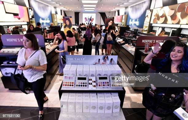 """Jaclyn Hill's new collection of eye shadow palettes """"The Vault"""" are displayed during the Morphe store opening with Jaclyn Hill at the Miracle Mile..."""