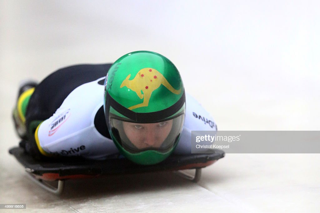 Jaclyn Narracott of Australia competes in her first run of the women's skeleton competition during the BMW IBSF Bob & Skeleton Worldcup at Veltins Eis-Arena on December 4, 2015 in Winterberg, Germany.