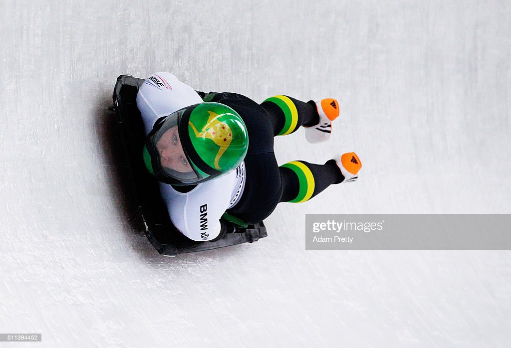 Jaclyn Narracott of Australia completes her third run during day 6 of the 2016 IBSF World Championships at Olympiabobbahn Igls on February 20, 2016 in Innsbruck, Austria.