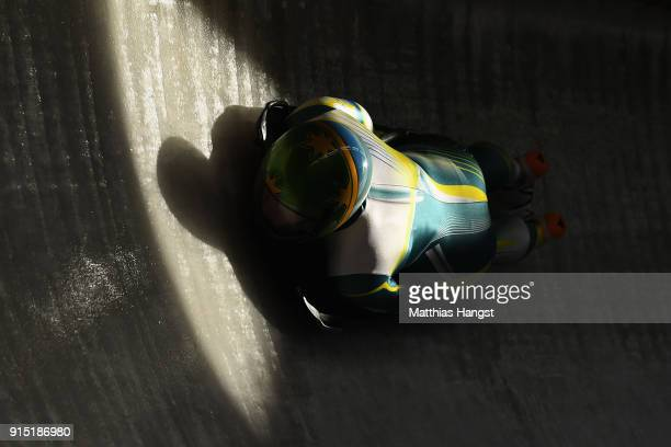 Jaclyn Narracott of Australia practices during Women's Skeleton training ahead of the PyeongChang 2018 Winter Olympic Games at the Olympic Sliding...