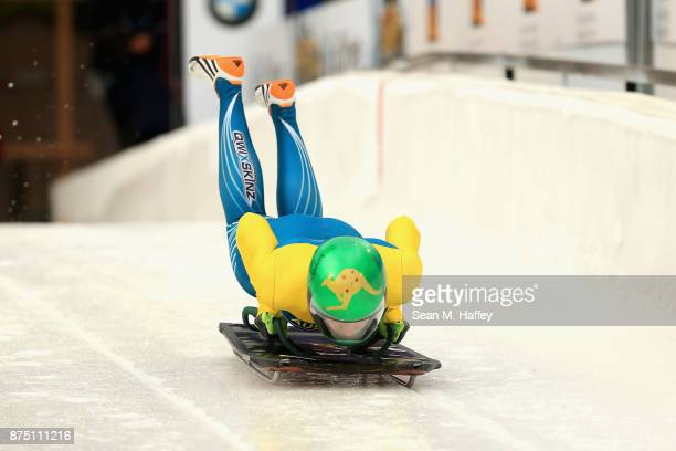 Jaclyn Narracott of Australia takes a training run in the Women's Skeleton during the BMW IBSF Bobsleigh + Skeleton World Cup at Utah Olympic Park...