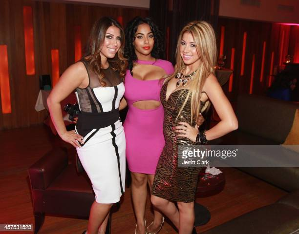 Jaclyn Rosenberg Ayisha Diaz and Pilar Vargas of Princess P Jewelry attend the NBA NFL Wives Holiday Cocktail Mixer at Pranna Restaurant on December...