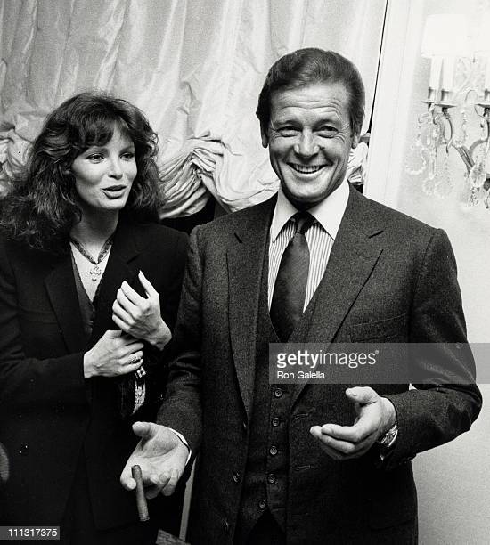 Jaclyn Smith and Roger Moore during Rolls Royce Unveils New Cars Gala at Sidney Sheldon's Beverly Hills Home in Bevery Hills, California, United...