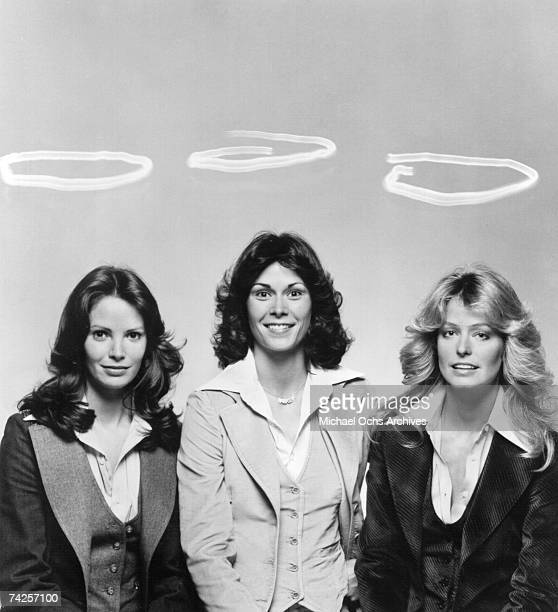 Jaclyn Smith, Kate Jackson and Farrah Fawcett pose for a portrait on the set of Charlie's Angels circa 1977 in Los Angeles, California.