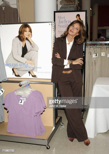 Jaclyn Smith poses as she signs autographs and talks about her clothing line at the Grand ReOpening of a Kmart store on August 5 2006 in Los Angeles...