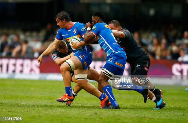 Jaco Coetzee of the DHL Stormers on attack during the Super Rugby match between Cell C Sharks and DHL Stormers at Jonsson Kings Park on March 02 2019...
