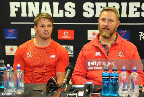 Jaco Kriel and coach Johan Ackermann at the post match interview during the Super Rugby Semi Final match between Emirates Lions and Hurricanes at...
