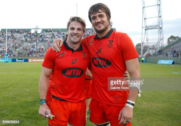 Jaco Kriel and Franco Mostert pose after winning the round two match between Argentina and South Africa as part of The Rugby Championship 2017 at...