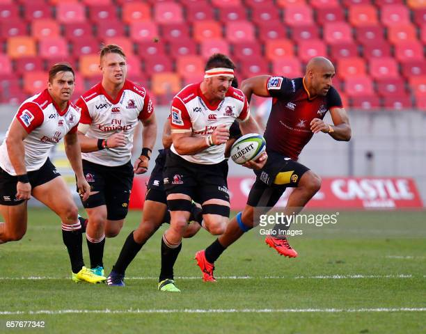 Jaco Kriel of the Lions braks a tackle during the Super Rugby match between Southern Kings and Emirates Lions at Nelson Mandela Bay Stadium on March...