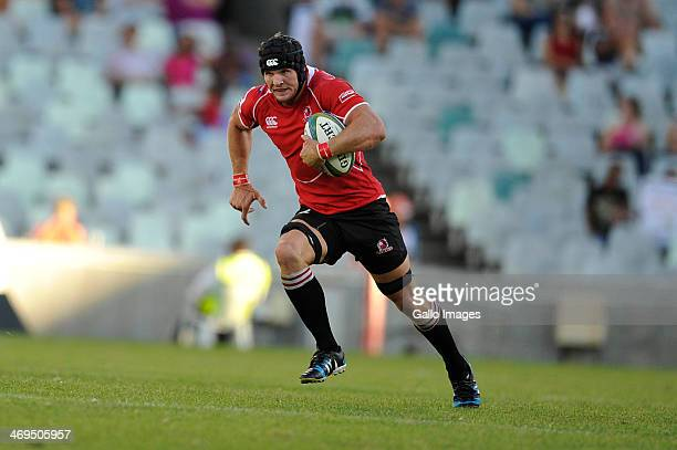 Jaco Kriel of the Lions during the Super Rugby match between Toyota Cheetahs and Lions at Vodacom Park on February 15, 2014 in Bloemfontein, South...