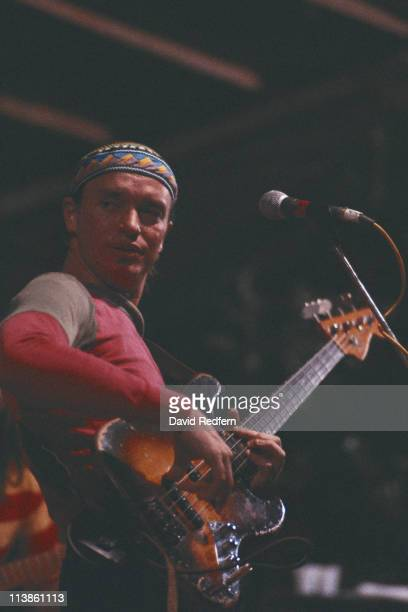 Jaco Pastorius , U.S. Jazz bassist with 'Weather Report', playing the bass during a live concert performance, circa 1983.