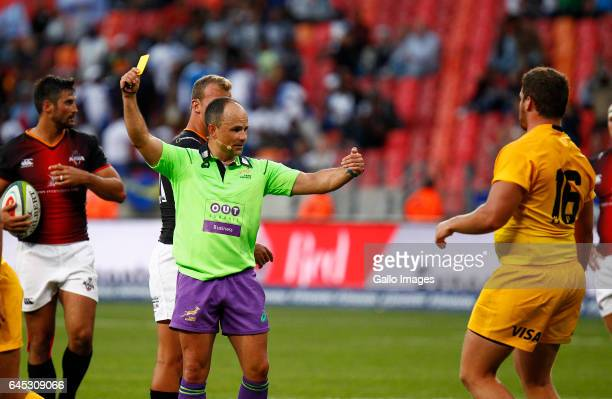 Jaco Peyper match referee issues a yellow card during the Super Rugby match between Southern Kings and Jaguares at Nelson Mandela Bay Stadium on...