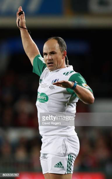 Jaco Peyper the referee awards a penalty during the Test match between the New Zealand All Blacks and the British Irish Lions at Eden Park on June 24...