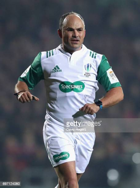 Jaco Peyper the referee looks on during the match between the New Zealand Maori and the British Irish Lions at Rotorua International Stadium on June...