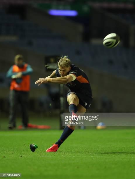 Jaco van der Walt of Edinburgh Rugby kicks a conversion during the Guinness PRO14 PlayOff Semi Final between Edinburgh and Ulster at Murrayfield on...