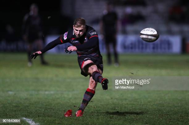 Jaco van der Walt of Edinburgh Rugby kicks a conversion during the Guinness Pro14 match between Edinburgh Rugby and Southern Kings at Myreside on...