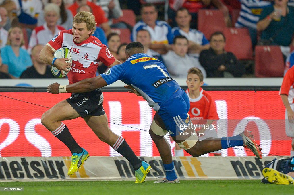 Jaco Van Der Walt of the Lions and Sikhumbuzo Notshe of the Stormers in action during the 2016 Super Rugby match between Emirates Lions and DHL Stormers at Emirates Airline Park on April 16, 2016 in Johannesburg, South Africa.
