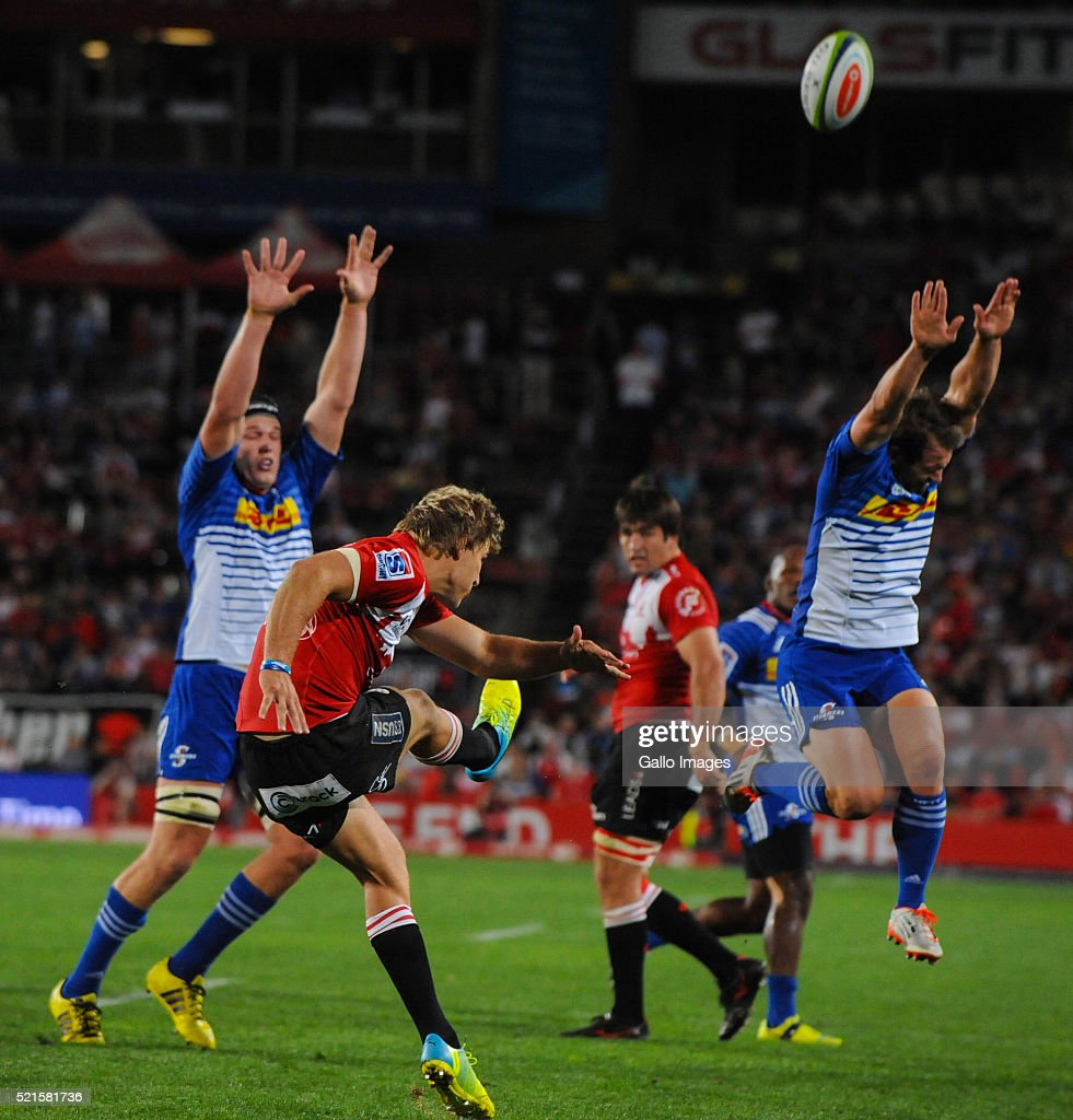 Jaco Van Der Walt of the Lions clears the ball during the 2016 Super Rugby match between Emirates Lions and DHL Stormers at Emirates Airline Park on April 16, 2016 in Johannesburg, South Africa.