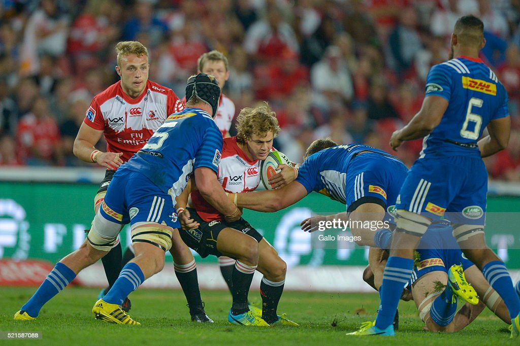 Jaco Van Der Walt of the Lions in action during the 2016 Super Rugby match between Emirates Lions and DHL Stormers at Emirates Airline Park on April 16, 2016 in Johannesburg, South Africa.